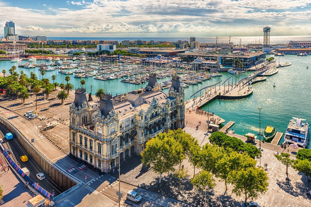 bigstock Aerial View Of Port Vell Barc 212800333 min